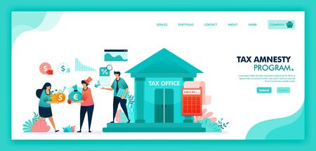 Tax amnesty program for reporting asset and tax violation at government tax office. Tax officer advising and calculate taxpayer annual bill, People pay lower taxes. Flat illustration vector design. Çizim