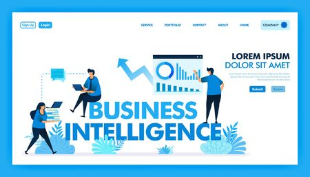 BI or business intelligence to facilitate companies, Business and technology industry 4.0 with access to data analysis, planner strategy, IOT, artificial intelligence. Flat illustration vector design.