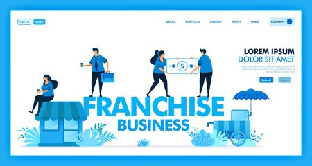 franchise business system is open business and retailer to increase and accelerate profit,  customer, benefit and company growth. profit sharing in franchise industry. Flat illustration vector design. Vettoriali