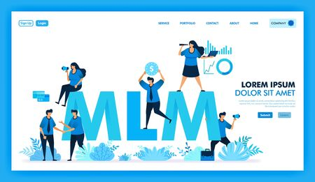 MLM affiliate program is get many downline and get profit. product value in multi level marketing business is looking for new customer and reseller to improve company. Flat illustration vector design.