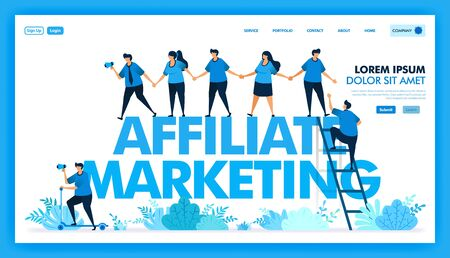 People join hands and invite in affiliate program, Refer a friend to looking for many downline and reseller, Network and seo optimization in marketing and business. Flat illustration vector design.