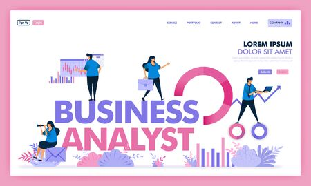 people analyze problem in business to get solution,business analysts job in industry 4.0, calculate and evaluate social problems to company profits in unicorn startup. Flat illustration vector design.