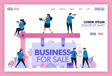 Search and find good business for sale in the region or country, Platform acquisitions to analyze and calculate problem solution and future of business being sold. Flat illustration vector design.