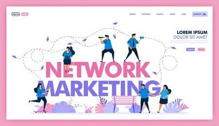 marketing network to exchange information and sell product, SEO and online marketing to boost sales value and profit, utilize social media with promo and ads content . Flat illustration vector design.