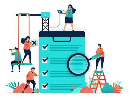 Check on questionnaire, choose in survey, exam. voting in elections. Tick checklist of choices in making decisions, submit applications in job vacancy, select employee based on a questionnaire data. Illustration
