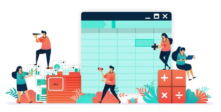Software for accounting with sheet, formula, calculators. make balance sheet easier with software. organizing accounting, financial, banking data in folder.  company bookkeeping report by accountants Illustration