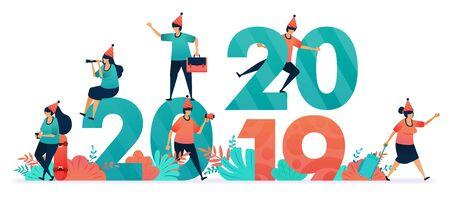 Inizia una festa di fine anno e Natale per cristiani e cattolici. Inizia il conto alla rovescia a capodanno dal 2019 al 2020. promozione, marketing e pubblicità con sconti a dicembre e gennaio Vettoriali