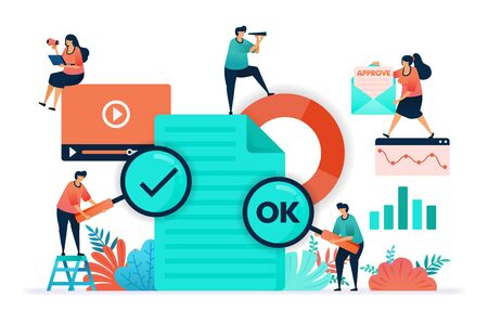 Paperwork flat vector design. Ok or yes on the video content or document submitted. Document statistics and business data for analysis. approve email. Decide on strategy and plan for company future.