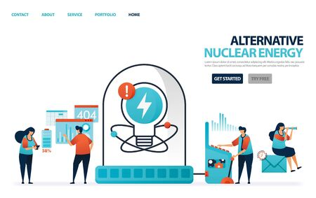 Nuclear alternative energy for electricity. Green energy for better future. Laboratory or lab for scientists to research data charging lithium battery. Human illustration for website, mobile, poster 일러스트