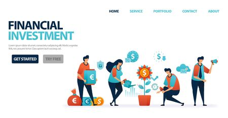 Financial investment with bank deposits and mutual funds to simplify investment. Banking credit with mild bank interest for business loans. Invest for future. Illustration for website, mobile, poster