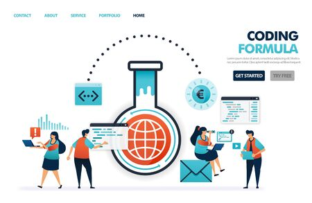 formulas in coding and programming software and apps. advances in internet technology industry. engineers research and experiment in digital industry 4.0 illustration for website, mobile apps, poster
