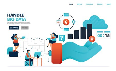 Handle big data in communication system of user and service provider. Saving  history of financial activity in data chip. Hand holding a statistics barchart. Illustration for website, mobile, poster Illusztráció