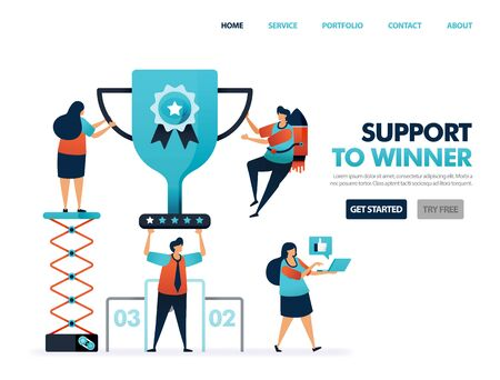Support to winner to get award and prize. Trophy and certificate for result of teamwork. Help to achieve goal and achievement. Top best ranking get cup. Illustration for website, mobile apps, poster