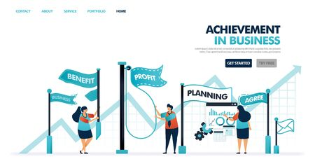 Achievement and goals in business and company development. Progress process in increase business, corporate career, company. Flag for goals achieved . Illustration for website, mobile app, poster