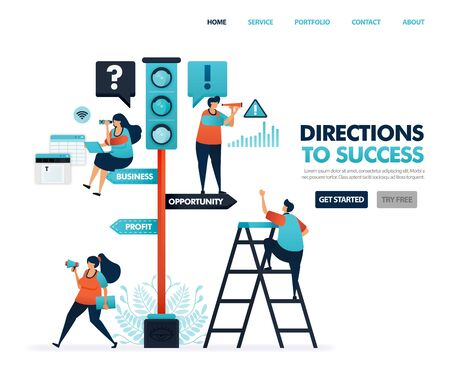 Direction for success in career and business. Signs on traffic. Warnings and instructions. Developing business and see signs of opportunity for profit. Illustration for website, mobile app, poster Иллюстрация