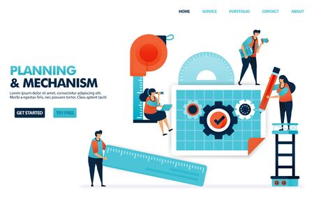 Planning a mechanism in business blueprint. Design company construction concept with standard operating procedures. Machine designs for goods production. Illustration for website, mobile apps, poster