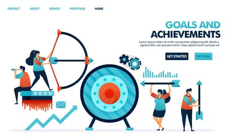 Achieve goals and achievements result in business. Profit target in the company's business. Archery with arrows. Benefit in business achievement. Human illustration for website, mobile apps, poster