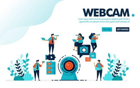Vector illustration webcam camera. People record using a webcam for live streaming or webinars. Social media video content for vlog. Designed for landing page, web, banner, template, flyer, poster Illustration