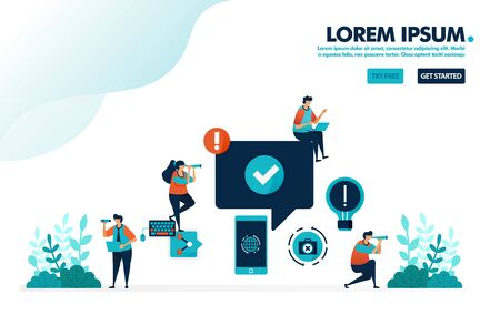 Approve and verify user comment, social media, mobile, internet activities. Simple tick symbol vector illustration for landing page, web, banner, template, background, mobile apps, ui, flyer, poster 向量圖像