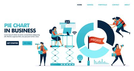 Pie chart for reports in business. Company profit report. People work around pie charts. Profits to corporate progress. Running a smart business. Human illustration for website, mobile apps, poster