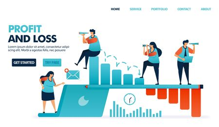 Profit and loss in running a business. Company performance report. Risk of company defaults. People attention to performance decline barchart. Human illustration for website, mobile apps, poster Ilustração