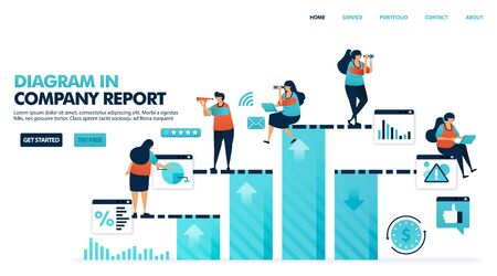 Bar chart for result of company income statement. Corporate annual increase. Increase profit and operating coefficients. Annual business report. Human illustration for website, mobile apps, poster