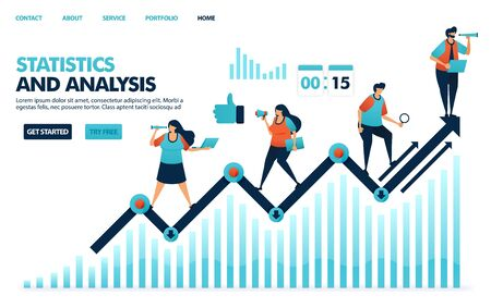Looking at annual statistics on corporate performance. Analysis planning strategies and idea for corporate. Line chart in business statement report. Human illustration for website, mobile apps, poster Ilustração