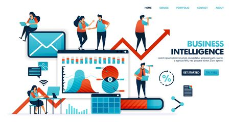 Business intelligence or BI to analyze need, desire habit of consumer in using product for smart business. company 4.0 in future company plan. Human illustration for website, mobile app, poster