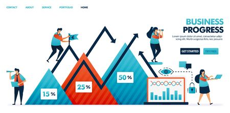 Step of progress in business and corporate strategy plan report. Chart in business. Company profits in a triangle chart. Company growth and development. Human illustration for website, mobile, poster