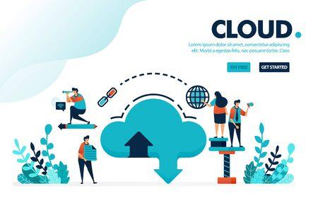 Vector illustration database and cloud. Internet download and upload to database system. Cloud hosting and storage rental services. Designed for landing page, web, banner, template, flyer, poster, ui