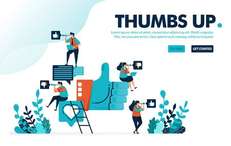 Vector illustration like thumbs up. People give a thumbs up, love and like for social media comments. Share opinions and feelings. Designed for landing page, web, banner, template, flyer, poster, ui