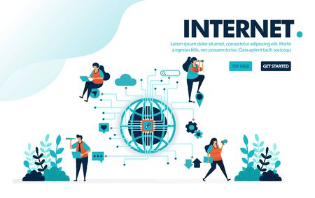 Vector illustration internet of things. People use internet iot for social and activities. Communication work and play with internet. Designed for landing page, web, banner, template, flyer, poster Ilustração
