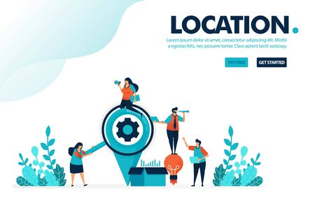 Vector illustration looking for location. People looking for locations to send idea box. Location pin for delivery and business service. Designed for landing page, web, banner, template, flyer, poster
