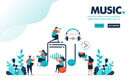 Vector illustration music entertainment. People around on music sign and earphone. Listen, create and share music with social media. Designed for landing page, web, banner, template, flyer, poster