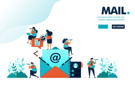 Vector illustration mail contact. People in pictures of letter or envelope to send and share messages. Inbox from friend list. Designed for landing page, web, banner, mobile, template, flyer, poster