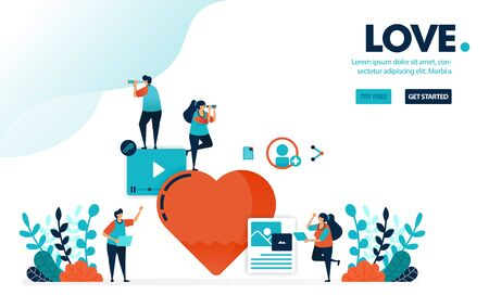 Vector illustration love sign. People like and love content. Creative social media video and image content with lots of love. Designed for landing page, web, banner, mobile, template, flyer, poster Ilustração