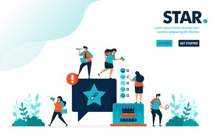 Vector illustration star satisfaction. People give star rank on comments. Social media user satisfaction level on services. Designed for landing page, web, banner, mobile, template, flyer, poster  イラスト・ベクター素材