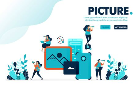 Vector illustration mobile picture. People take picture and images with mobile camera. Share images to social media with mobile. Designed for landing page, web, banner, mobile, template, flyer, poster
