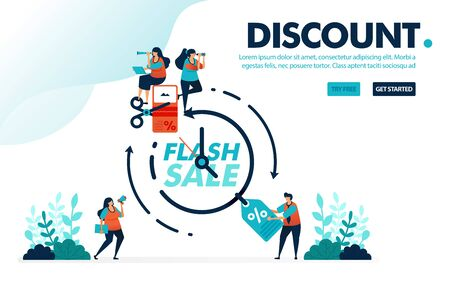Vector illustration discount flash sale. People fighting and claiming discount voucher within a period. Time for a flash sale. Designed for landing page, web, banner, mobile, template, flyer, poster