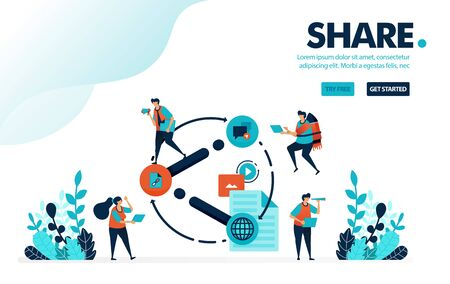 Vector illustration share. People share link, video, document and content on social media. Share useful information to friend. Designed for landing page, web, banner, mobile, template, flyer, poster