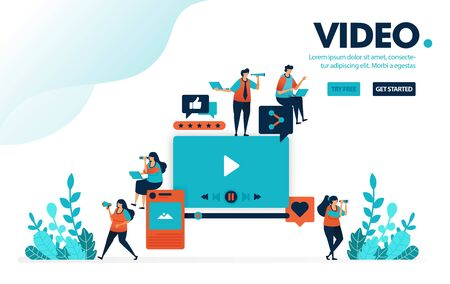 Vector illustration video editing. People watch video from social media. Provide rating and comment, uploading and editing. Designed for landing page, web, banner, mobile, template, flyer, poster