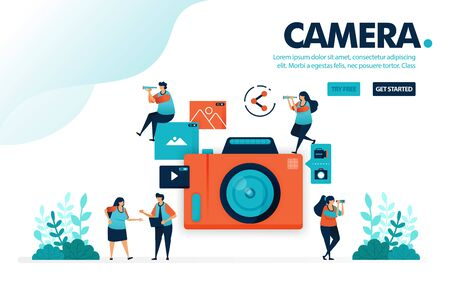 Vector illustration camera. People take picture with camera. Video and photo sharing on social media. Photography for posting. Designed for landing page, web, banner, mobile, template, flyer, poster Ilustração