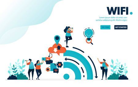 Vector illustration internet and wifi. People use wifi to activities and social media. Big data from history of internet usage. Designed for landing page, web, banner, mobile, template, flyer, poster
