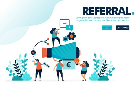 Vector illustration referral program. People join referral programs for marketing and promotion. Refer a friend with megaphone. Designed for landing page, web, banner, mobile, template, flyer, poster