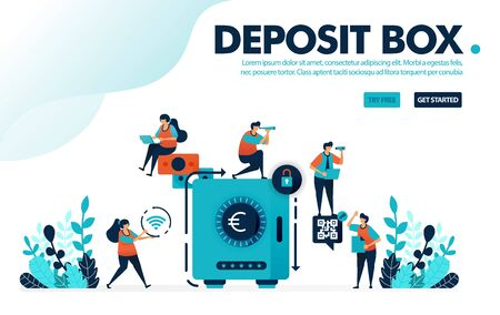 Vector illustration concept of safe deposit box. People secure and save money in banks, save and invest with banking. Designed for landing page, web, ui, banner, template, background, flyer, poster Illusztráció