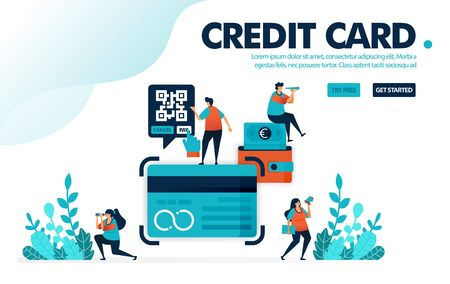 Vector illustration concept of credit card. People apply for credit card loan at bank. Pay bill and installment with a credit card. Designed for landing page, web, banner, template, background, flyer