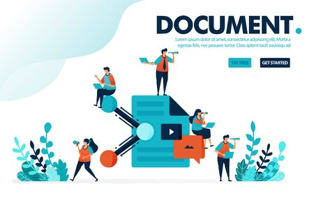 Vector illustration concept of document sharing. People share work documents and paperwork. Sharing and collaboration at work. Designed for landing page, web, banner, template, background, flyer Ilustração