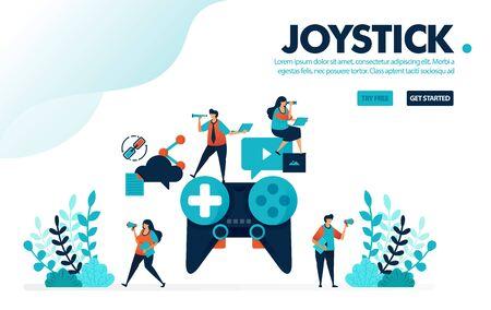 Vector illustration analog joystick. People playing games on giant joystick. Teamwork and collaboration in completing game. Designed for landing page, web, banner, template, background, flyer, poster Ilustração
