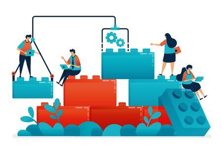 Komponieren Sie Lego-Spiele für Teamwork und Zusammenarbeit bei der Arbeit und bei der Lösung von Geschäftsproblemen. Konstruktionsmodell für Kinderführung und Partnerschaft. Illustration von Website, Banner, Software, Poster