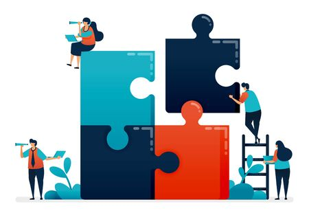 Practice collaboration and problem solving in teams by completing puzzle games, Solving problems in business and company, Cooperation and teamwork, Illustration of website, banner, software, poster